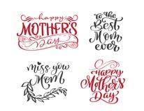 Счастливой помечать буквами дня матерей установленной нарисованный рукой закавычит Дизайн печати футболки или открытки вектора, р иллюстрация штока