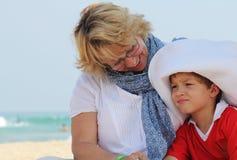 Счастливые бабушка и внук Стоковые Фотографии RF