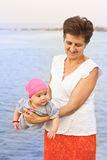 Счастливые бабушка и внучка Стоковая Фотография