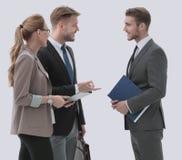 Счастливые бизнесмены в formalwear обсуждая новый проект Стоковые Изображения RF