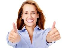 счастливые большие пальцы руки поднимают женщину стоковое изображение