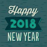 Счастливые год сбора винограда карточки Нового Года 2018 типографский на зеленом цвете teal Стоковое Фото