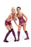 Счастливые девушки в розовом платье ленты Стоковые Фотографии RF