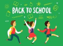 Счастливые дети бежать к школе Стоковые Изображения RF
