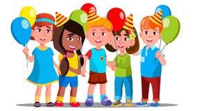 Счастливые дети в крышках партии с вектором предпосылки воздушных шаров изолированная иллюстрация руки кнопки нажимающ женщину ст иллюстрация штока