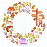 Счастливые дети играя на seashore, пляже, море, океане Дети отдыхают и путешествовать Плавание, глобус значков doodle бесплатная иллюстрация