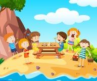 Счастливые дети имея обед на острове иллюстрация вектора