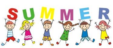 Счастливые дети и лето надписи, иллюстрация вектора Стоковая Фотография