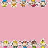 Счастливые дети, маленькие девочки и мальчики, иллюстрация вектора, творческий объект Стоковая Фотография RF