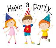 Счастливые дети на партии бесплатная иллюстрация