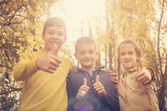 Счастливые дети показывая о'кеы подписывают внутри парк Стоковое Фото