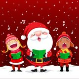 Счастливые дети с рождественскими гимнами рождества петь Санта Клауса иллюстрация штока