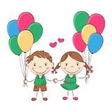 Счастливые дети шаржа Стоковая Фотография