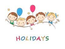 Счастливые дети шаржа Стоковые Фотографии RF