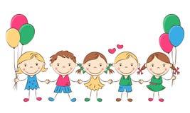 Счастливые дети шаржа Стоковое Изображение RF