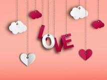 Счастливые дизайн и иллюстрация карточки предпосылки вектора дня валентинки Стоковые Изображения