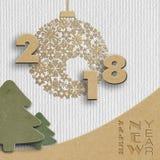 Счастливые дизайн Нового Года 2018 творческий Стоковые Фотографии RF