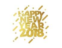 Счастливые дизайн поздравительной открытки иллюстрации текста Нового Года 2018 красочный Стоковое фото RF