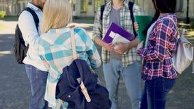 Счастливые друзья говоря после классов, студенты обсуждая будущую карьеру планируют сток-видео
