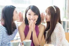 Счастливые друзья женщины в ресторане Стоковое Фото
