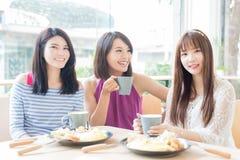 Счастливые друзья женщины в ресторане Стоковые Изображения