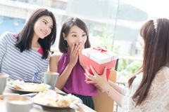 Счастливые друзья женщины в ресторане Стоковое Изображение