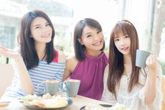 Счастливые друзья женщины в ресторане Стоковые Изображения RF