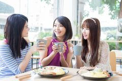 Счастливые друзья женщины в ресторане Стоковая Фотография RF