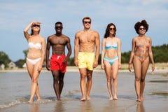 Счастливые друзья идя вдоль пляжа лета стоковое фото rf