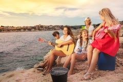Счастливые друзья имея пикник outdoors на пляже стоковые изображения rf