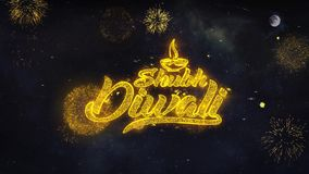 Счастливые желания текста Shubh Diwali показывают от поздравительной открытки частиц фейерверка акции видеоматериалы