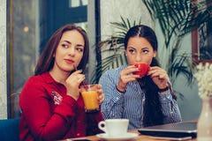 Счастливые женские друзья говоря и указывая на кто-то пока выпивающ кофе стоковые изображения