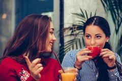 Счастливые женские друзья говоря и указывая пальцы на кто-то пока выпивающ кофе стоковые фото