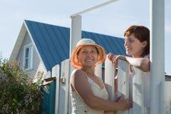 Счастливые женщины приближают к калитке загородки Стоковые Изображения RF