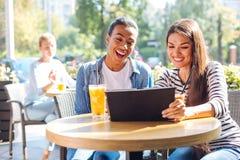 Счастливые женщины смеясь над пока наблюдающ видео в кафе Стоковые Изображения RF