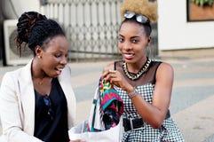 Счастливые женщины с их хозяйственной сумкой Стоковое Изображение