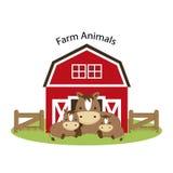 Счастливые животноводческие фермы Милая иллюстрация мультфильма семьи лошади иллюстрация штока