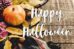 Счастливые знак текста хеллоуина на тыкве осени с листьями и wal Стоковые Фотографии RF