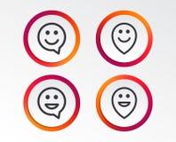 Счастливые значки пузыря речи стороны Символ указателя Стоковые Изображения RF