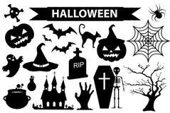 Счастливые значки хеллоуина установили, черный стиль силуэта белизна изолированная предпосылкой Собрание хеллоуина элементов диза иллюстрация вектора