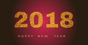 Счастливые иллюстрация вектора дизайна вектора Нового Года 2018 абстрактная Стоковая Фотография RF