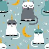 Счастливые коты - единороги, звезды и луна, красочная безшовная картина иллюстрация вектора