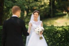 Счастливые красивые пары идя в парк в их дне свадьбы как раз поженено стоковые изображения rf