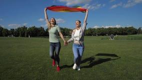 Счастливые лесбиянки с ходом флага радуги в парке акции видеоматериалы