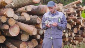 Счастливые лесопогрузчик или плотник работника имеют большие деньги около кучи журналов, спиленной древесины Концепция успешного  акции видеоматериалы