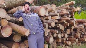 Счастливые лесопогрузчик или плотник работника имеют большие деньги около кучи журналов, спиленной древесины Концепция успешного  сток-видео