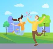 Счастливые любовники весело скача, подруга парня бесплатная иллюстрация