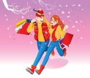 Счастливые любовники идя под деревья вишневого цвета, нося несколько хозяйственных сумок Стоковая Фотография