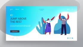 Счастливые люди наслаждаясь страницей посадки вебсайта лета, мужчиной и женскими характерами с руками вверх по веселить и усмехат бесплатная иллюстрация