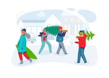 Счастливые люди носят рождественские елки Характеры на Новом Годе и с Рождеством Христовым Подготавливать на зимние отдыхи иллюстрация вектора